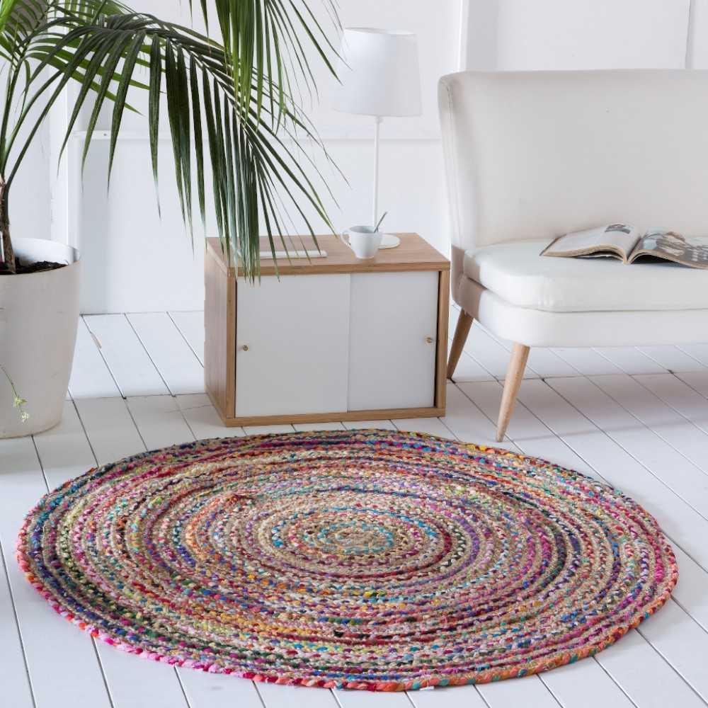 alfombra redonda para salon multicolor yute algodon