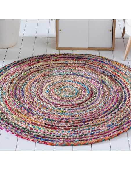 alfombra yute algodon salon redonda