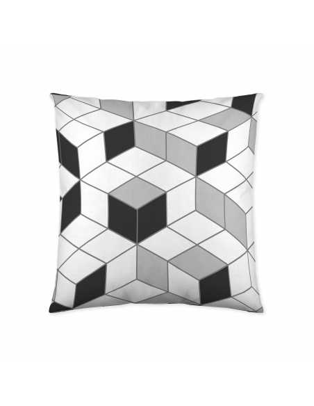 funda de cojin geo cube gris