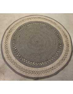 alfombra redonda gris y natural
