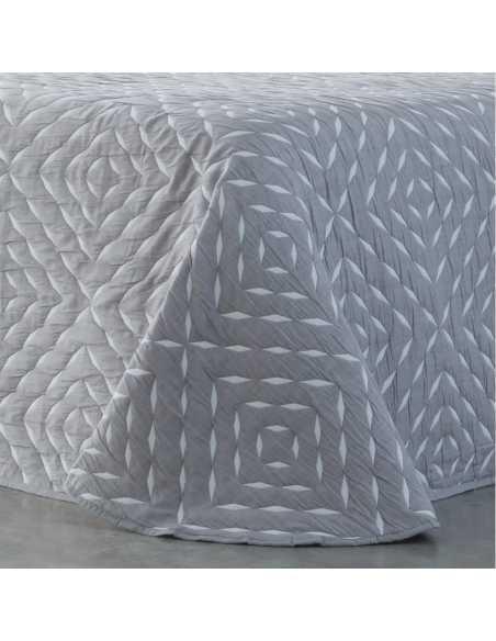 detalle colcha bouti reversible suances gris