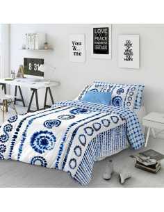 funda nordica blanca y azul dye