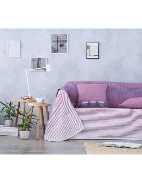 cubre sofa morado