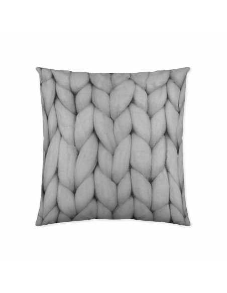 funda cojin lana gris