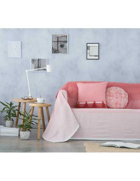 cubre sofa stripes naranja