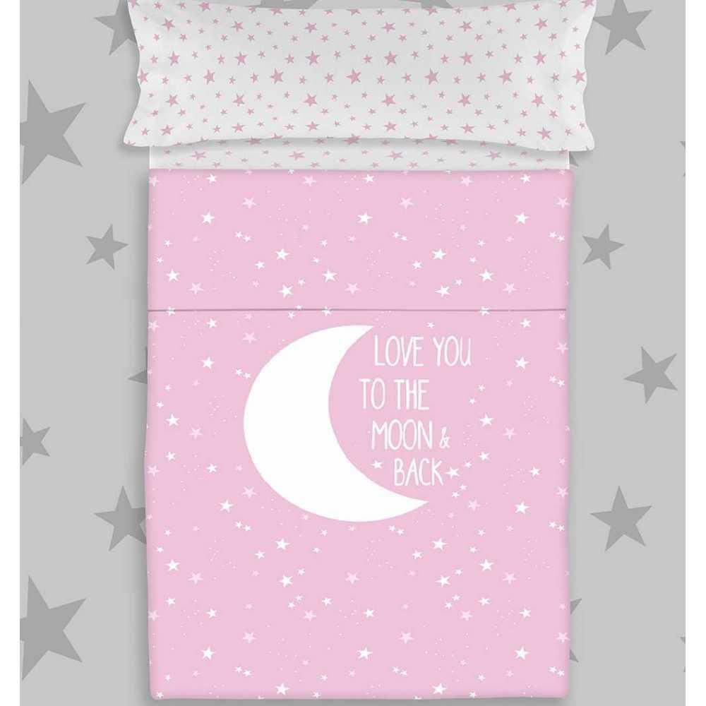 juego de sabanas infantil juvenil moon pink rosa