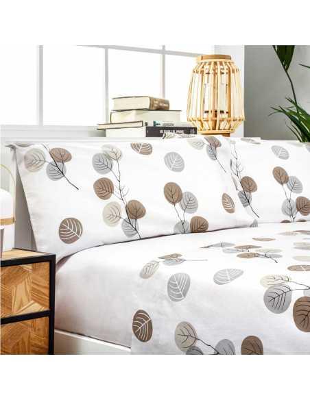 sabanas algodon organico gris claro y beige