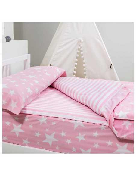 saco sin relleno nordico infantil rosa con estrellas