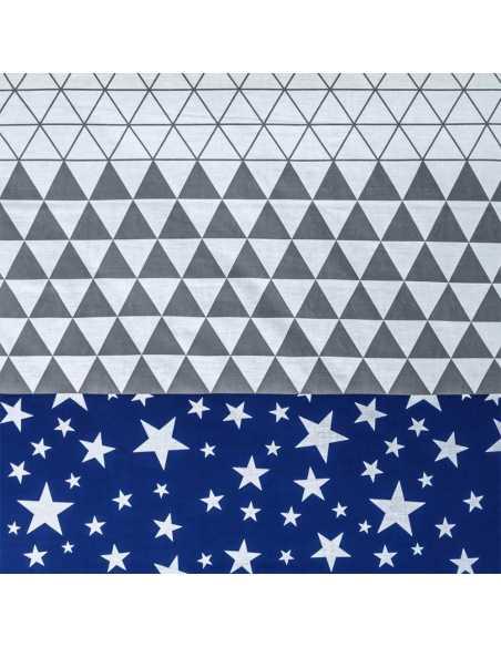 detalle juego de sabanas azul y gris triangle azul