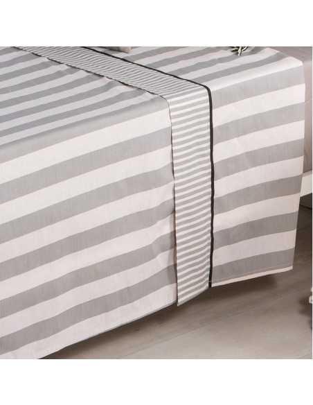 detalle sabana lines algodon gris
