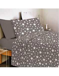 juego de sabanas gris estrellas algodon