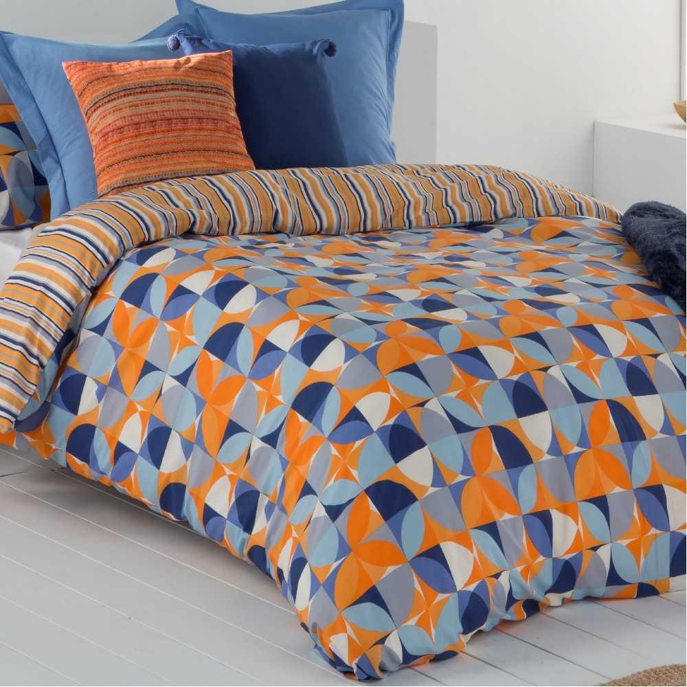 funda nordica reversible naranja y azul